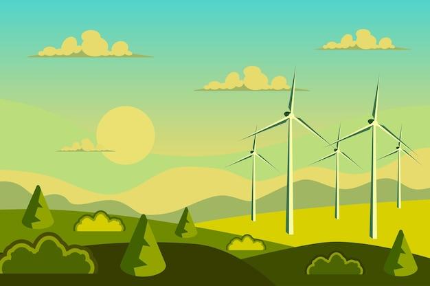 フラット漫画スタイルのフィールド風景の風力エネルギータービン