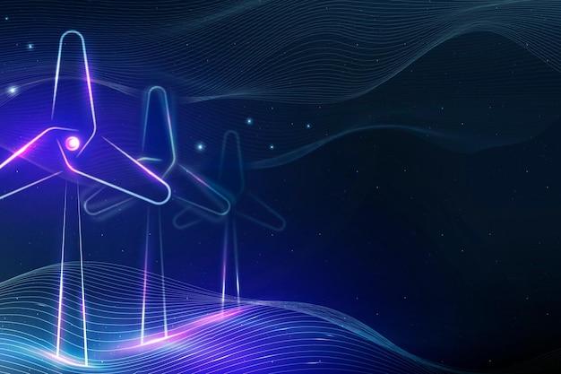 Вектор энергии ветра с фоном ветряных турбин