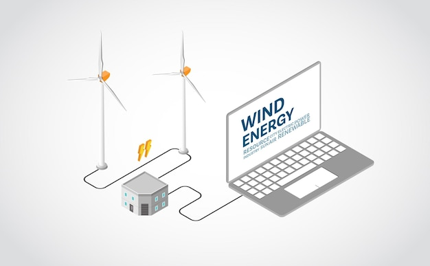 Энергия ветра, ветряная электростанция в изометрической графике