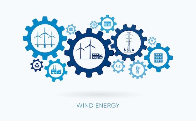 風力エネルギー、風力発電所、歯車のアイコン