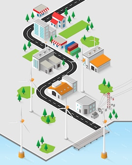 Wind energy, wind turbine power plant in isometric graphic