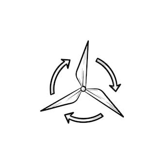 풍력 발전기 손으로 그린 개요 낙서 아이콘입니다. 환경 기술 및 풍력 배터리 개념입니다. 흰색 배경에 고립 된 인쇄, 모바일 및 infographics에 대 한 풍차 벡터 스케치 그림.