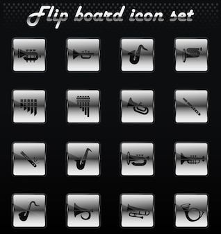 Wind instruments vector flip mechanical icons for user interface design