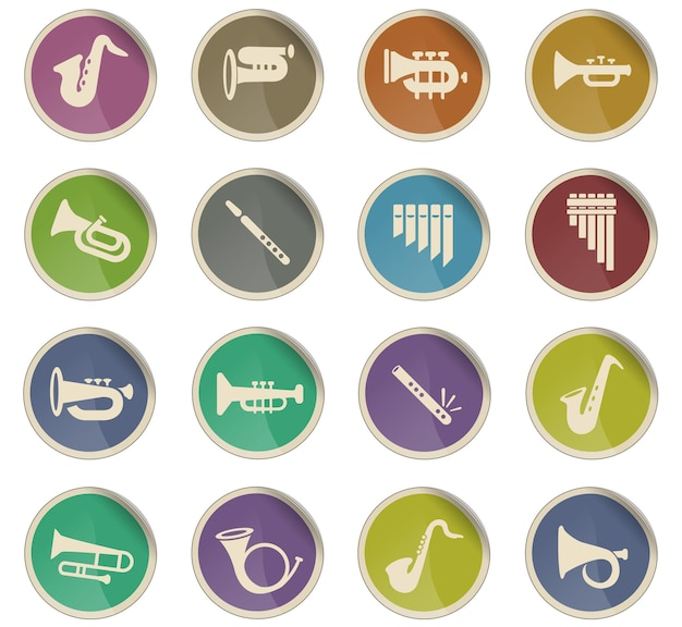 Wind instruments web icons in the form of round paper labels