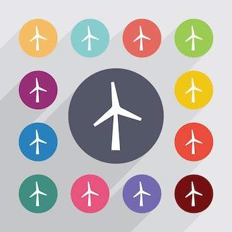 風車、フラットアイコンセット。丸いカラフルなボタン。ベクター