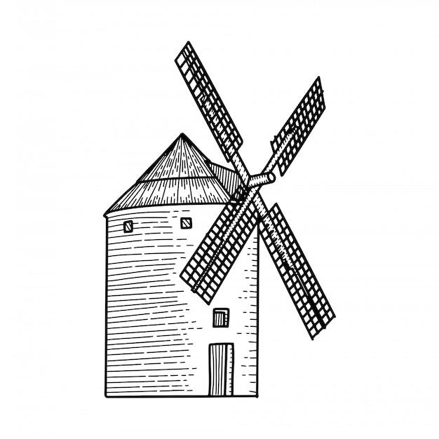 풍차, 풍차 손으로 그린 스케치 새겨진 그림. ethcing 중세 건물 상징, 로고, 배너, 포스터, 웹, 모바일, 아이콘, 포장 배지. 격리 된 흑백 개체입니다.