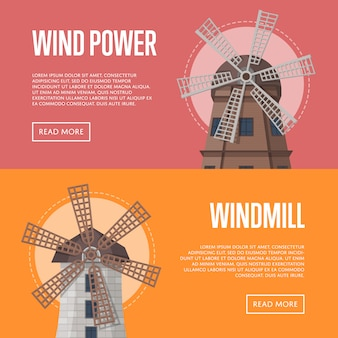 Wind power flyers with windmill buildings