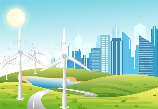 風力発電所。風力タービン。グリーンエネルギー産業概念。都市の背景を持つ風力発電所のフラットな漫画のスタイルのイラスト。再生可能エネルギー源。