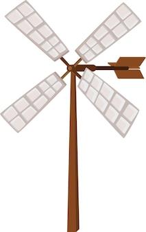 Wind propeller on wooden pole