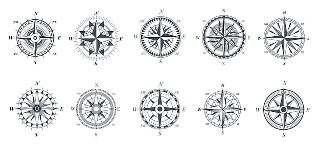 바람 장미 나침반. 빈티지 해양 나침반, 항해 항해 탐색 여행 표지판, 복고풍 화살표 포인터 벡터 기호. 나침반 방향, 항해 여행 탐사 도구 그림