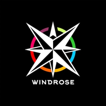 Wind rose logo simple colorful vector