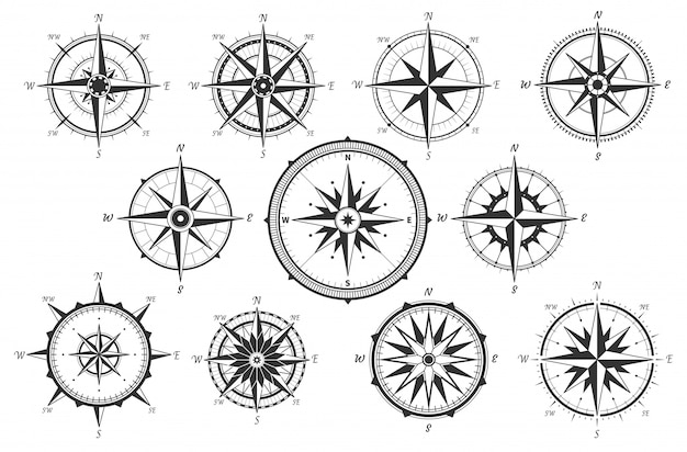 Wind rose. map directions vintage compass. ancient marine wind measure icons isolated