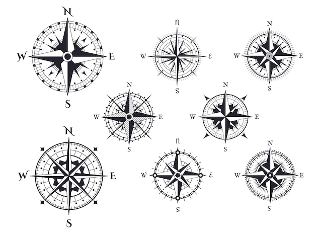 Wind rose nautical direction icons with cardinal points, vintage map compasses