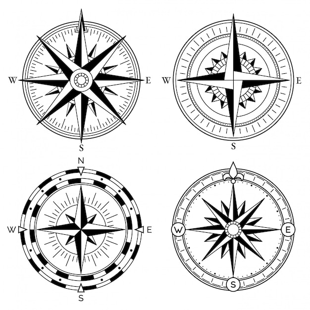 Wind rose retro design vector collection