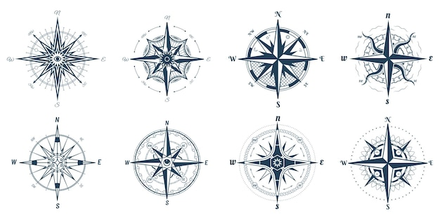 Wind rose sign with direction arrows to north and south