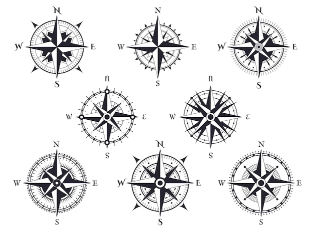 Wind rose. vintage compass with north, south and west, east pointers. cartography marine retro set.