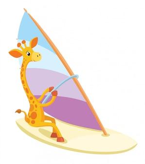 Виндсерфинг жирафа. летняя иллюстрация.