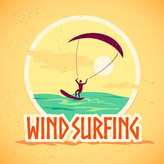 Wind surfing vector illustration.