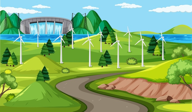풍력 터빈과 긴 도로 현장 및 댐 배경
