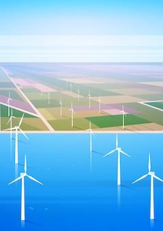 Wind turbine energy renewable water station field background