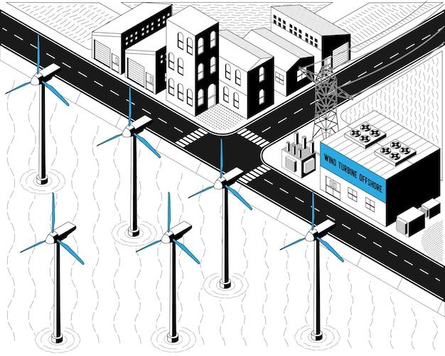Энергия ветряных турбин, морская ветряная электростанция в изометрической графике