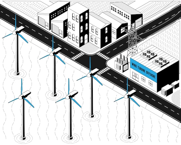 Wind turbine energy, wind turbine offshore power plant in isometric graphic