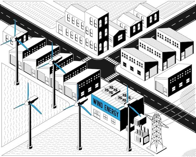 Энергия ветряных турбин, ветряная электростанция в изометрическом графическом черно-белом цвете