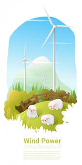 Wind turbine on a field with sheeps