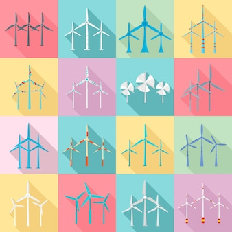 Wind turbine icons set. flat set of wind turbine icons