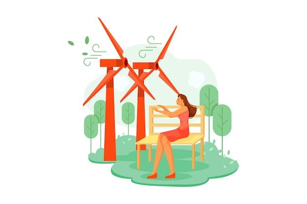 風力タービンイラストコンセプト