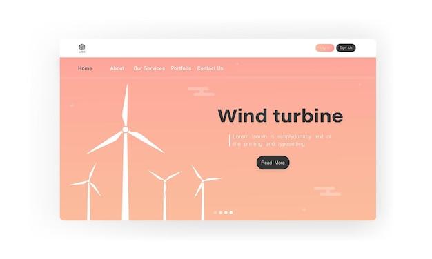 풍력 터빈 방문 페이지. 생태 발전소. 풍력 에너지 전력 개념. 녹색 전기.