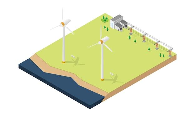 Wind turbine power plant in isometric view