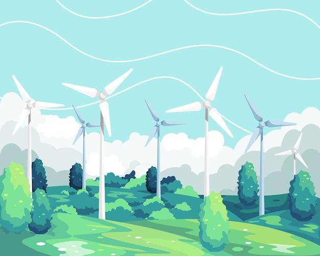 風力タービンの再生可能エネルギー。風力タービンの風光明媚な風景、グリーンで環境に優しいエネルギー。フィールドグリーンの風力タービンタワー。フラットスタイルで