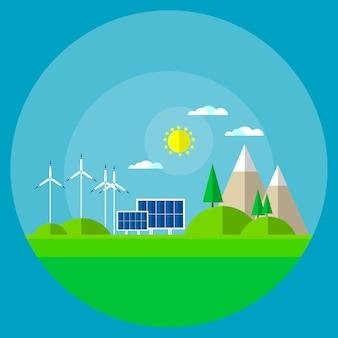 Wind turbine solar energy panel mountain background