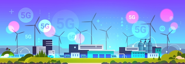 Wind turbine solar panel alternative energy source 5g online wireless system connection industrial plant power station clean nature ecology environment concept horizontal