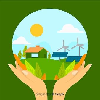 風力タービンとファーム内の太陽電池パネル Premiumベクター