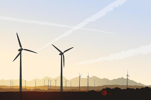 日の出の風力タービンベクトル風景イラスト未来の持続可能なエネルギーのグリーンパワー