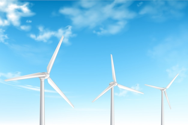 Wind turbines on cloudy blue sky background