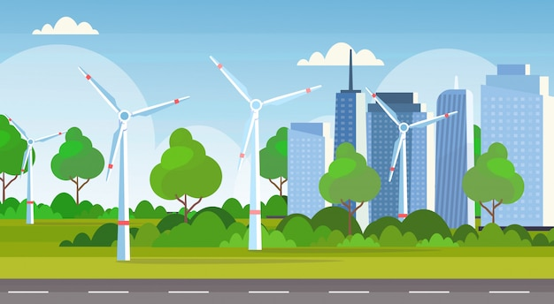 Wind turbines field clean alternative energy source renewable station concept modern cityscape skyline background  horizontal