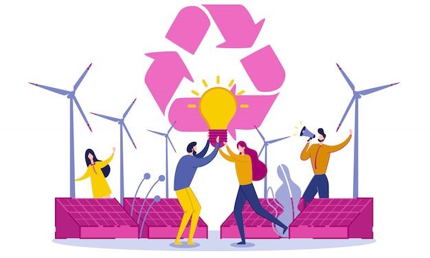 Wind turbines or generators and solar panels.