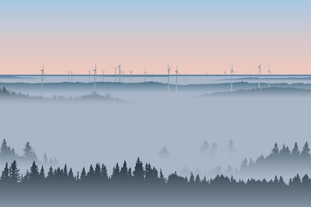 Wind turbines in misty forest morning fog landscape vector illustration renewable power resource