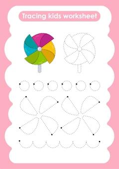 子供のためのウインドホイールトレースラインの書き込みと描画の練習ワークシート