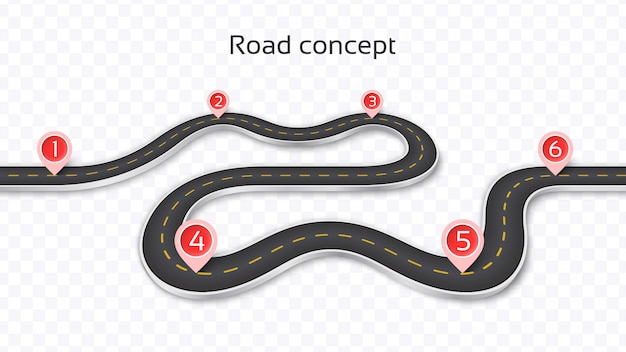 Winding 3d road  on a transparent background. timeline template