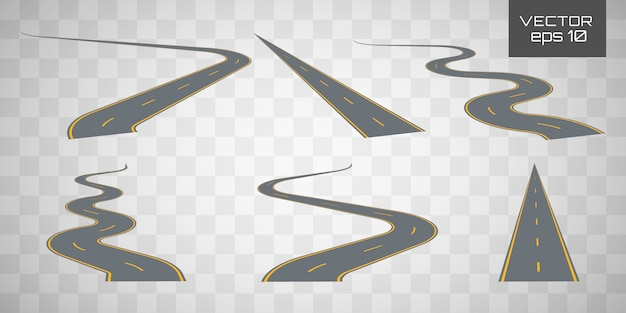 Winding curved road or highway with markings.