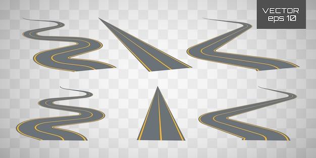 曲がりくねった曲がりくねった道路または高速道路。