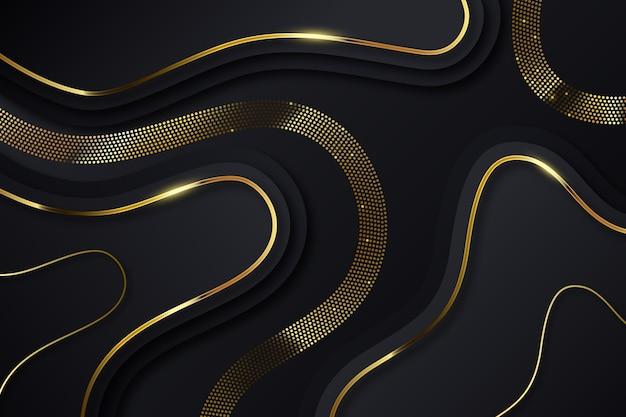 Winding golden lines on dark background