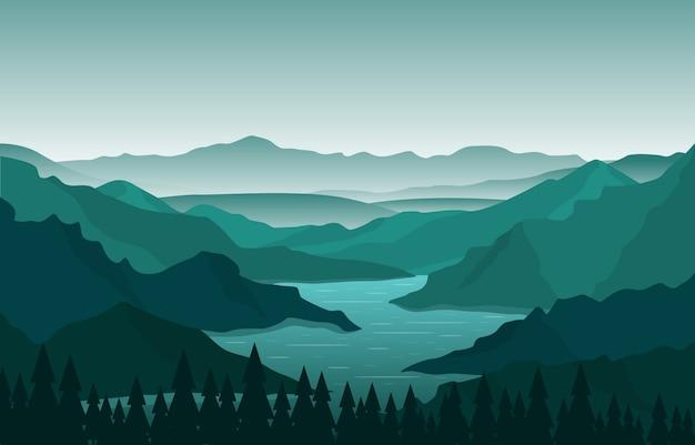 曲がりくねった川の山の森の美しい田園自然風景イラスト