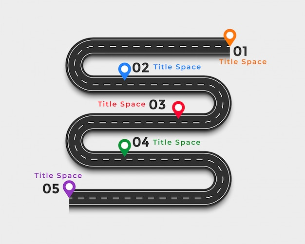 Winding road infographic template design