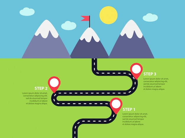 Winding road infographics template