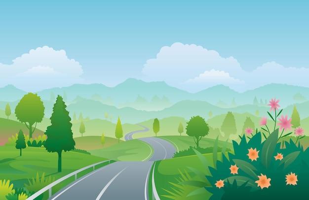 Извилистая дорога горный пейзаж фон